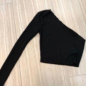 PLT One Shoulder Long Sleeve Ribbed Crop